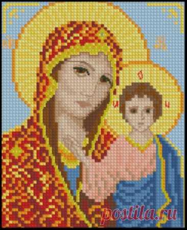 Богородица. Цветная Схема для вышивки крестиком бисером