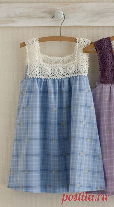 Вязание крючком + ткань, в результате очаровательное платье, для маленькой принцессы!
