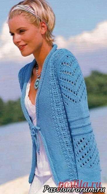Бирюзовый жакет | Вязание для женщин спицами. Схемы вязания спицами