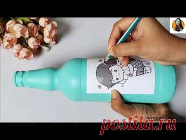 DIY | Bottle Art| How to trace image on Bottle| Cutest & Easiest Valentine's Day Special Bottle Art|