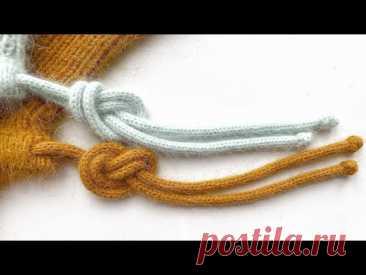 Шнурок спицами 2 способа вязания