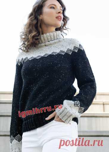 Черно-белый свитер с жаккардовым узором. Вязание спицами со схемами и описанием