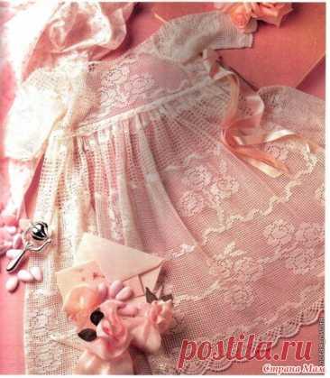 """El vestido de bautismo """"Розовый сад"""". El trabajo de autor. La foto, la descripción, el esquema. - el país de las Mamás"""
