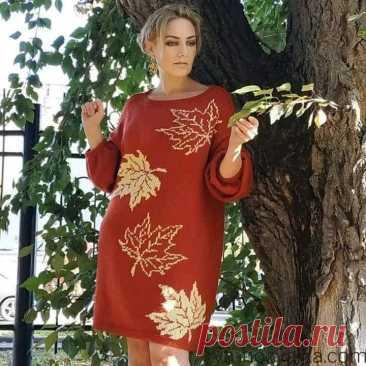 Вязаное платье спицами с жаккардовым узором. Платье спицами в технике интарсия