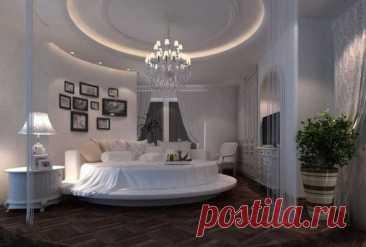 Круглая кровать в интерьере спальной - Мебель, интерьер