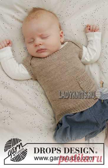 Вязанная спицами безрукавка для ребенка от рождения до 6 лет. Описание