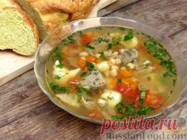 Рецепт: Говяжий суп с нутом, клёцками и помидорами на RussianFood.com