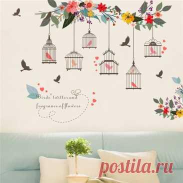 Красочные цветочные птицы Наклейка на стену клетка для птицы наклейки на стену для дома, гостиной, спальни, фона для телевизора, декора садовых окон | Дом и сад | АлиЭкспресс