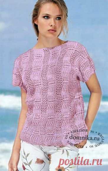 Оригинальный узор и приятный розовый оттенок привлекают внимание на ажурной кофточке с коротким рукавом. Потрясающе эффектная модель подойдет и солидным полным женщинам, и молодым стройным девушкам…