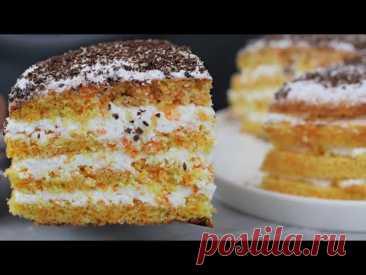 Нежный морковный торт с творожным кремом | Кулинарка | Яндекс Дзен
