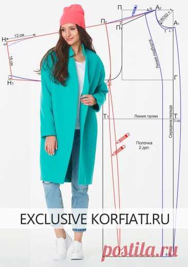 Выкройка пальто-кокон от Анастасии Корфиати Сшейте объемное пальто-кокон самостоятельно! Несмотря на кажущуюся объемность, оно весьма изящно.Выкройка пальто-кокон и инструкции по раскрою бесплатно!