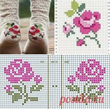 Оригинальные носочки. Узор розочки для вас. Блог lera_s_tudio  Источник: https://www.instagram.com/p/CThbwGQsA34/