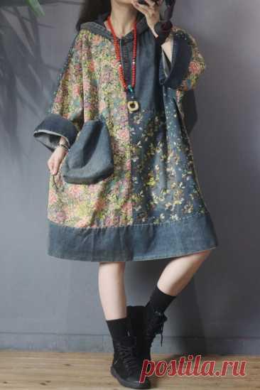 Women Loose fitting dress Hooded denim dress Oversize   Etsy