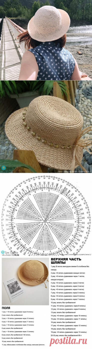 Как связать шляпку из рафии: 5 вариантов со схемами | Рукоделие