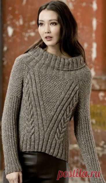 НЕОБЫЧНЫЙ СВИТЕР С КРУГЛОЙ КОКЕТКОЙ ВОРОТНИКОМ  Эта модель свитера очень необычная,круглая кокетка ,связанная резинкой, переходящая в свободный ворот,просто супер идея дизайнера.Модный свитер для выполнен спицами из пряжи LANG YARNS ALICE, состоящей из хлопка, полиамида, бейби альпаки и тонкой мериносовой шерсти.  Размеры S (М , L , XL).  Охват груди 100 (106, 112, 118) см, длина 40 (41, 42, 43) см.  Вам потребуется  450 (500, 550, 600) грамм или 9 (10, 11, 12) мотков беже...