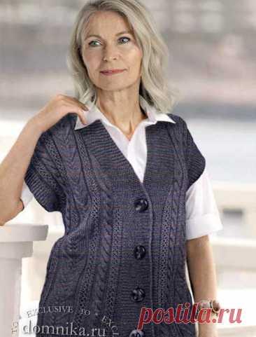 Вязаные жилеты 52-54 размера для возрастных женщин - 4 новые модели