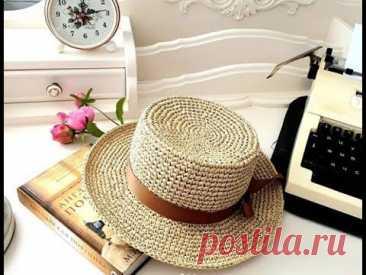Модные шляпы панамки из рафии крючком - идеи для вязания и вдохновения