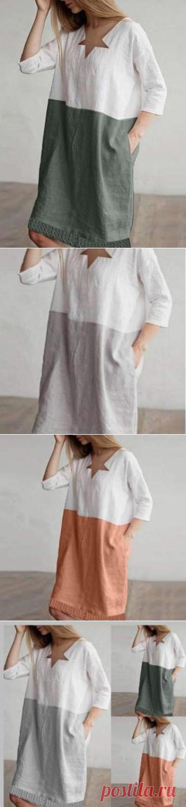 $ 27.96 - Fashion Loose Cotton Gored V neck Shift Dresses - www.clothingi.com