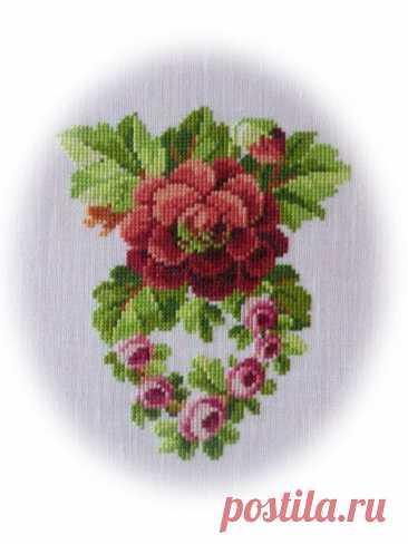 Вышивка крестиком винтажных цветов