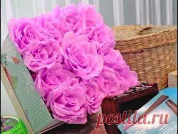 Коробочка с розами из крепированной бумаги (Box with roses from crepe paper)