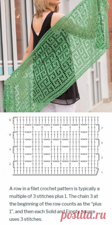 Схема узора для шикарного палантина крючком