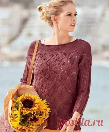 Бордовый джемпер из смесовой пряжи (лен+шерсть) красивым ажурным узором с косами. #knitting #вязание_спицами #джемпера_спицами