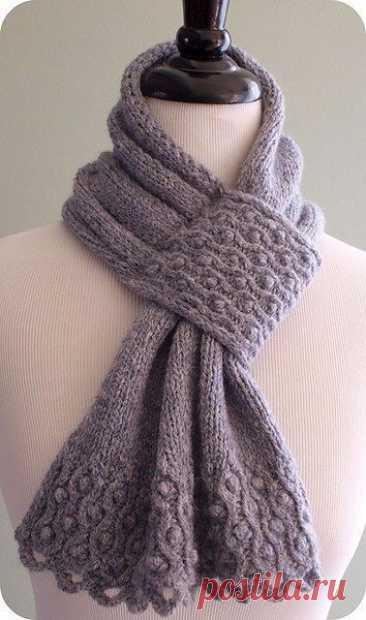 Необычный шарфик спицами