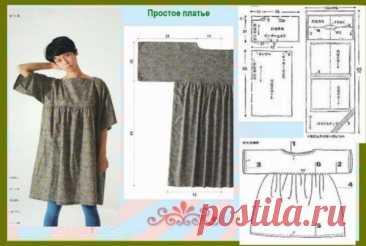 """Выкройка простого платья в стиле """"наив"""" Модная одежда и дизайн интерьера своими руками"""