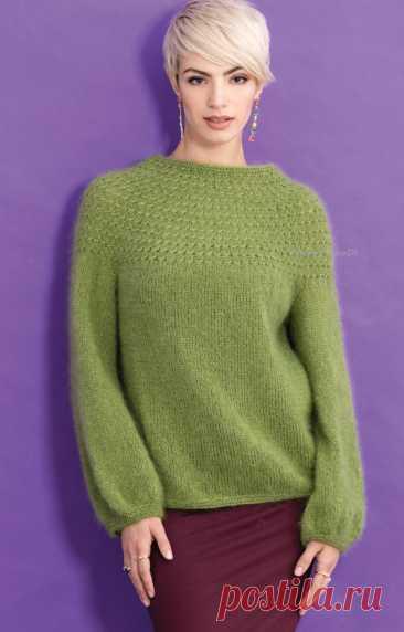 Джемпер с круглой кокеткой /Yoke Pattern Pullover by Yoko Hatta, Vogue Knitting