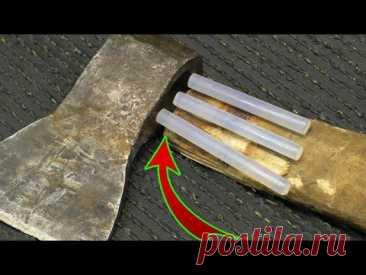 ПЛОТНИКИ НЕ ХОТЯТ ЧТОБЫ ВЫ ЗНАЛИ ОБ ЭТОМ! Мало кто знает про этот современный метод насадки топора!