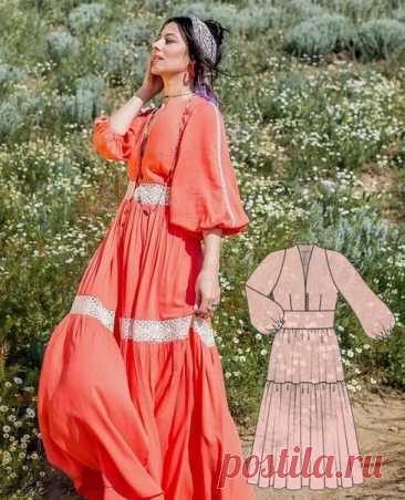 Платье приталенного силуэта с ярусами в бохо-стиле Размер 36-44eur #вж_платье12@kopilka_vikroek