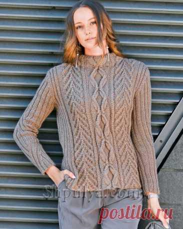 Пуловер с воротником-стойкой и узорами из «кос» — Shpulya.com - схемы с описанием для вязания спицами и крючком