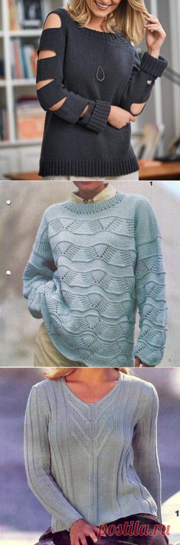 Джемперы. Оригинально и просто. Вязание спицами | Марусино рукоделие | Яндекс Дзен