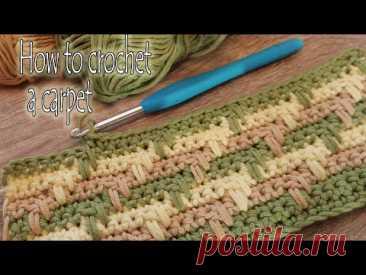 Вяжем шикарный ковер крючком из остатков пряжи How to crochet a carpet