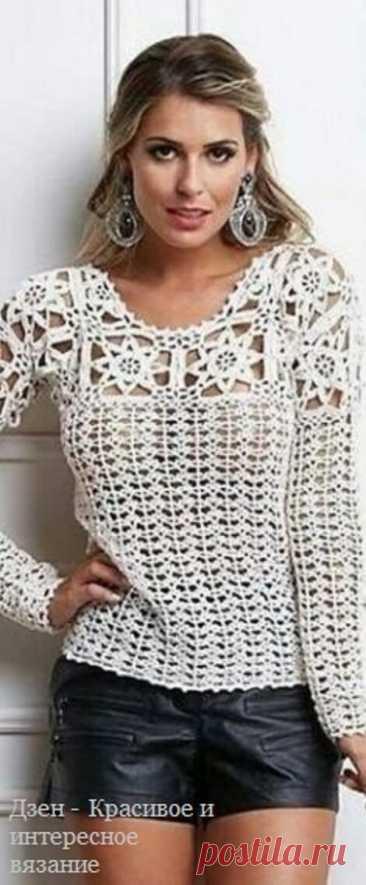 Женские пуловеры крючком со схемами | Красивое и интересное вязание | Яндекс Дзен