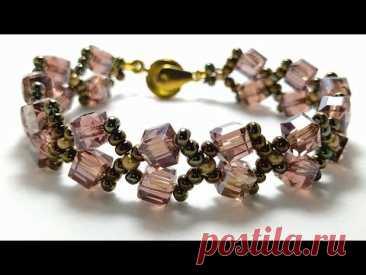 Bracelet making with cubic crystals * Браслет из бисера и квадратного кристалла *