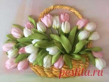 Тюльпаны, вышитые атласными лентами: идеи для творчества