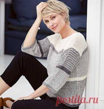 Джемпер-бокси с плетеным узором - Knitting.Klubok.ru.com