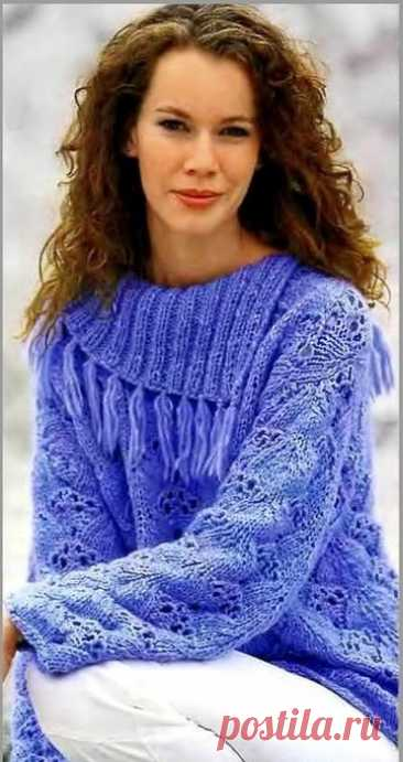 Вязаный пуловер с открытым воротником.