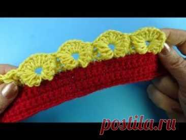 Начинаем вязать – Видео уроки вязания » Очень необычная кайма крючком – Урок вязания крючком №375