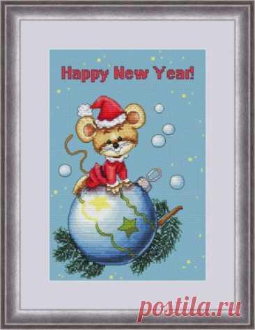 схема для вышивки крестом новогодней открытки с мышкой Новогодний сюрприз