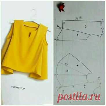 Pattern of an unusual puff top Fashionable clothes and interior design by the hands