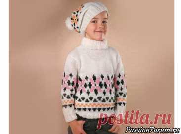 Пуловер и шапка с орнаментом | Вязание спицами для детей