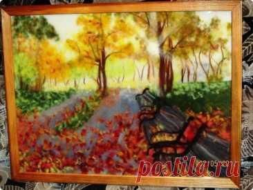 """Картина из шерсти """"Осень в парке"""""""