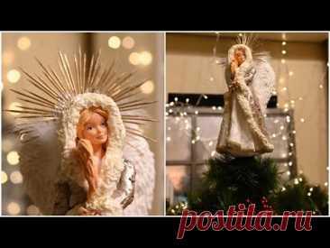 DIY ватный ангел на елку из старой куклы Барби