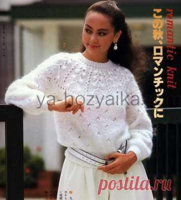 Пуловер с кокеткой спицами 2021. Японская круглая кокетка спицами
