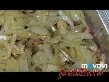 Свинина с грибами, запечённая в духовке