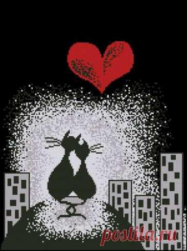 схема для вышивки крестом пары котов Ночное свидание