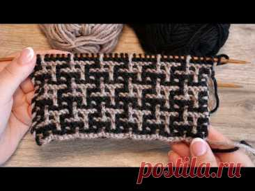🧩Узор «Куринные лапки» спицами 🐓 «Chicken legs» knitting pattern - Mosaic Knitting in Garter Stitch🧩