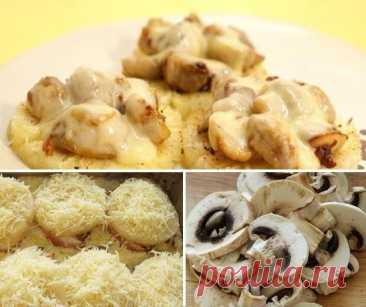 Шикарное угощение – Ананасовые кружки с грибами и сырной корочкой